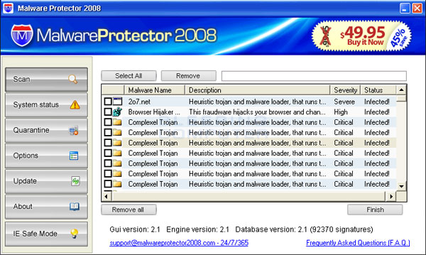 Scan results from MalwareProtector2008