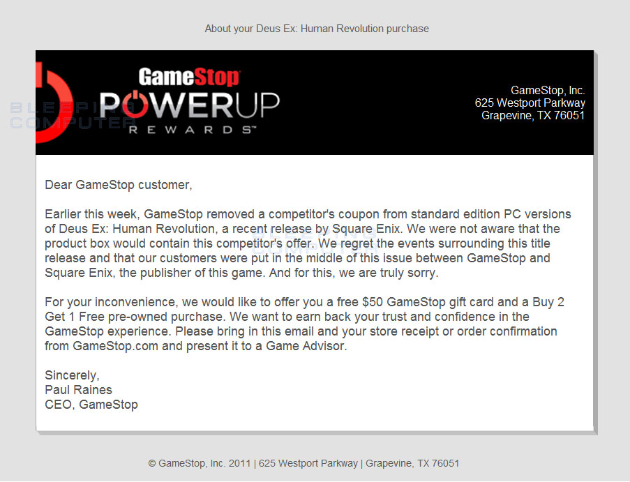 Gamestop official coupons