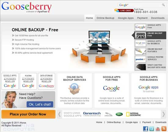 Gooseberrytech.com Screen shot