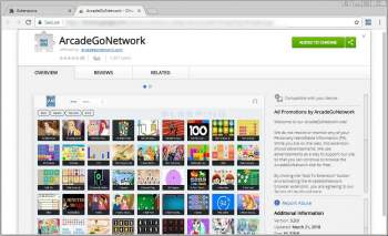 ArcadeGoNetwork Chrome Adware Extension Image