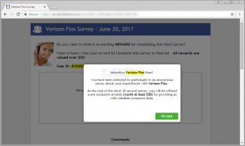 Remove the Attention ISP User Popup Survey Displayed by Adware Image
