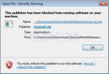 The publisher has been blocked from running software Alert Image