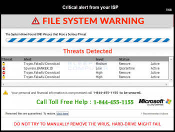 Remove the Critical Alert From Your ISP Tech Support Scam Image