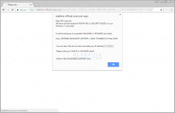 Excessive Popup Ads or Security Issues Alert Screenshot