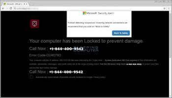 Remove the Locked to Prevent Damage Tech Support Scam Image