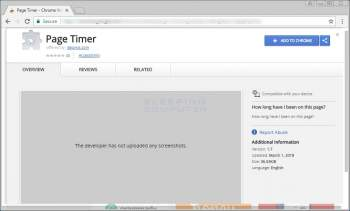 Page Timer Search Hijacking Chrome Extension Image