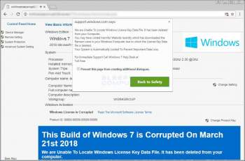 Remove the This Build of Windows 7 is Corrupted Tech Support Scam Image