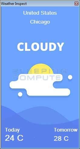 Weather Inspect Adware Screenshot
