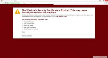 The Window's Security Certificate is Expired Tech Support Scam Image
