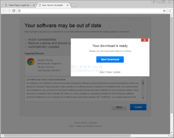 Your software may be out of date Popup Image