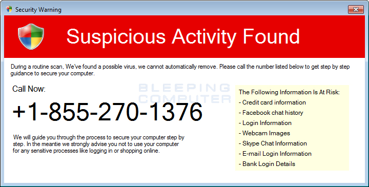 Fake Suspicious Activity Found Alert