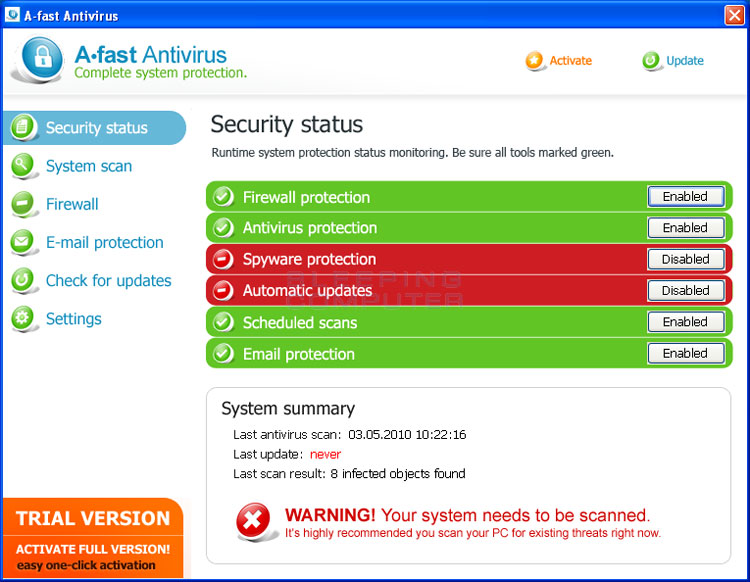 A-fast Antivirus screen shot