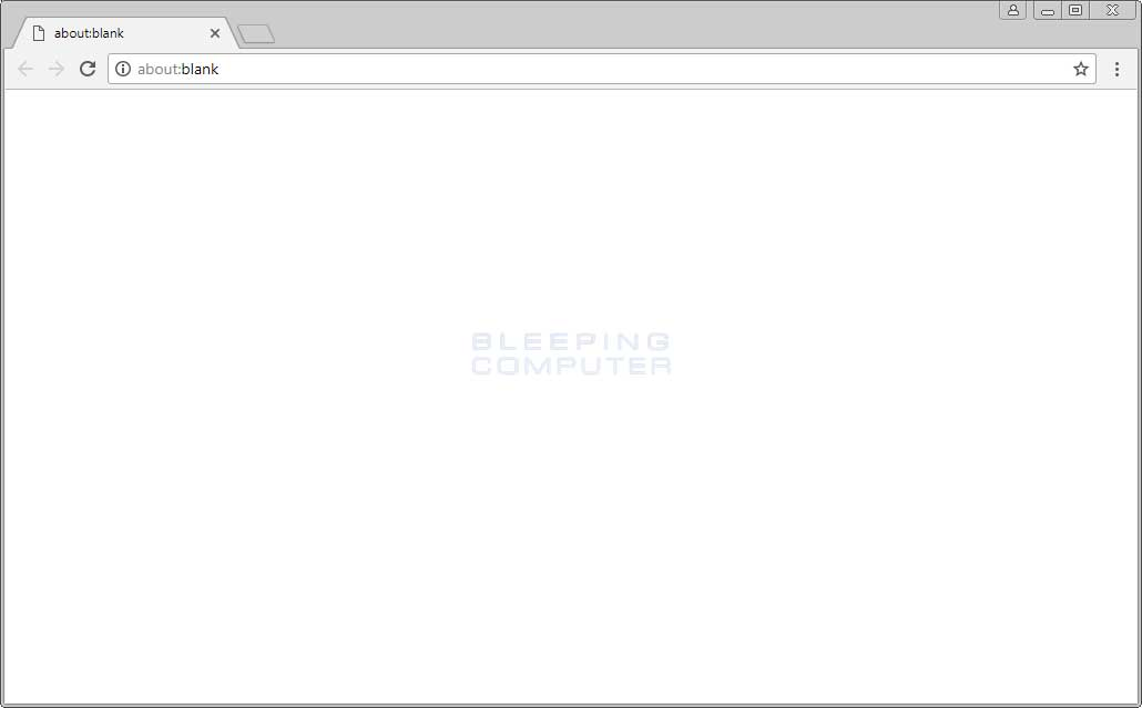 About:blank page in Chrome