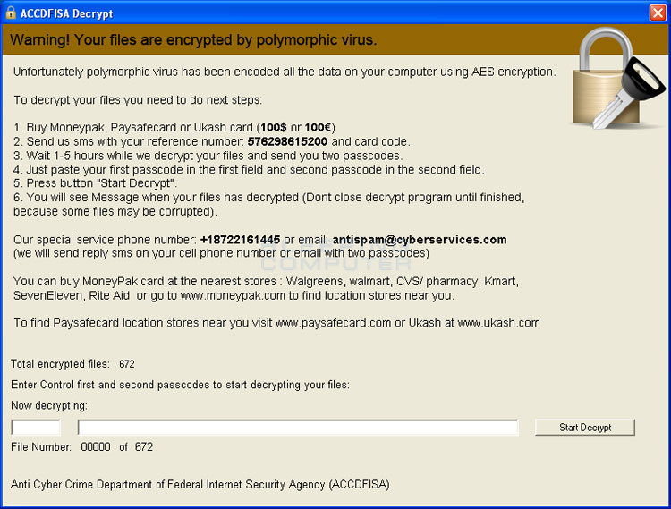 How to remove and decrypt the ACCDFISA Protection Program