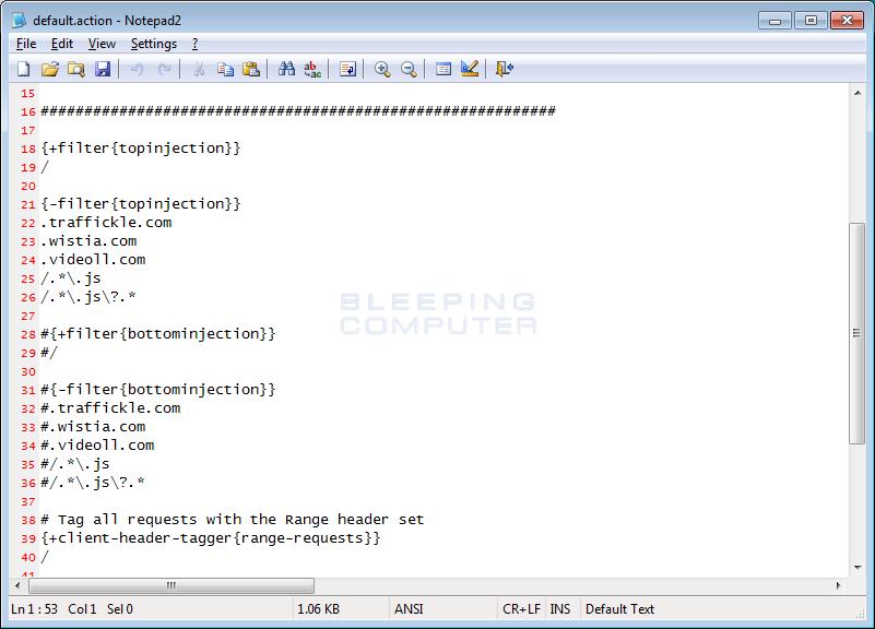 Default.action Configuration File