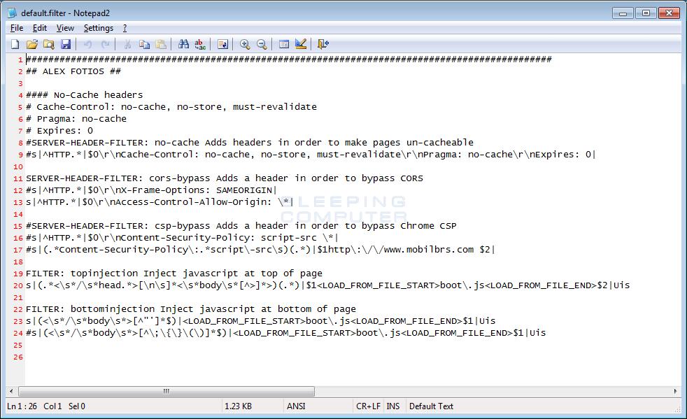 Default.filter Configuration File