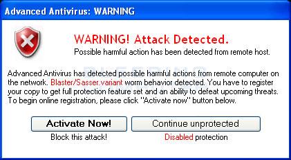 Fake warnings from Advanced Antivirus