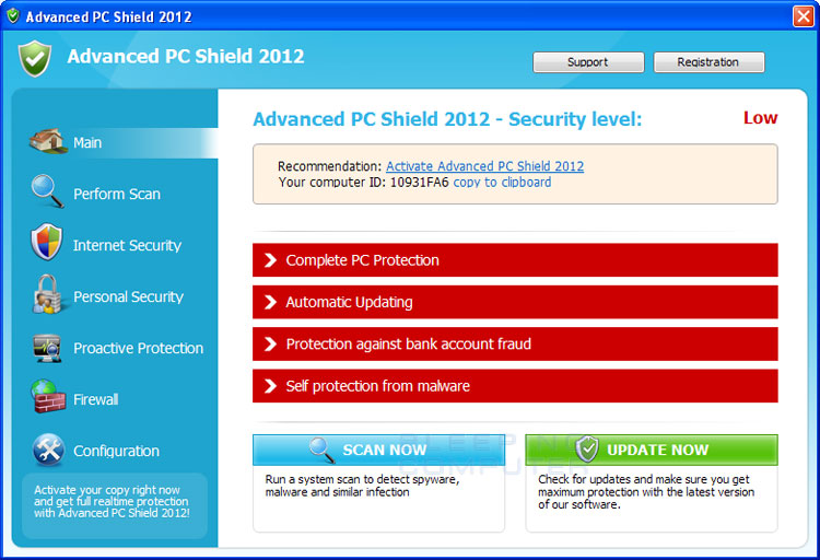 Advanced PC Shield 2012 screen shot