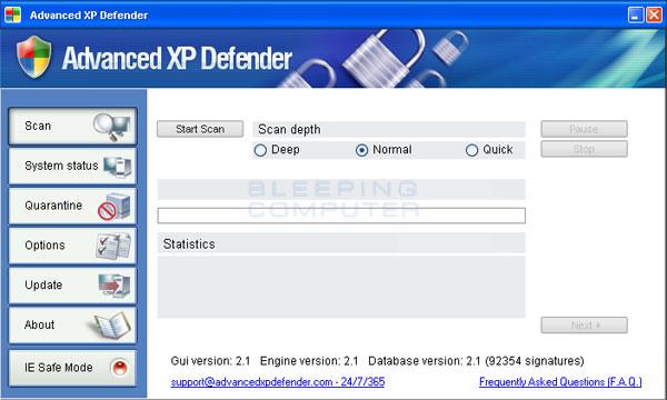 Advanced XP Defender screen shot