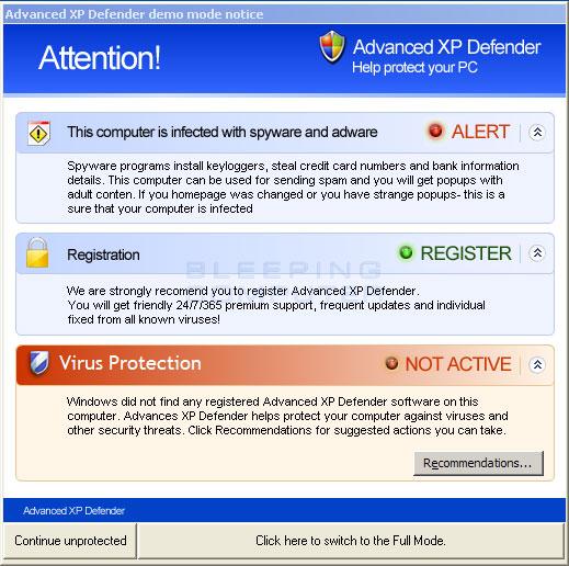 Advanced XP Defender popup