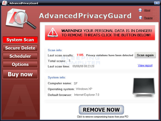 Screen shot of AdvancedPrivacyGuard