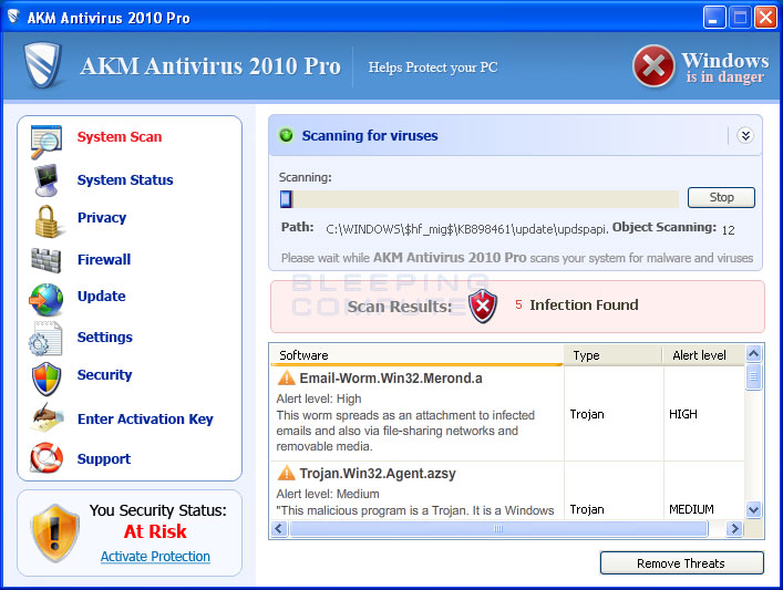 AKM Antivirus 2010 Pro screen shot