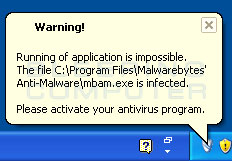Infected warning