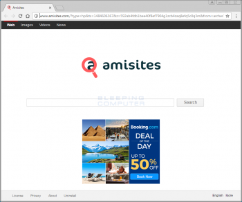Amisites.com Browser Hijacker Screenshot