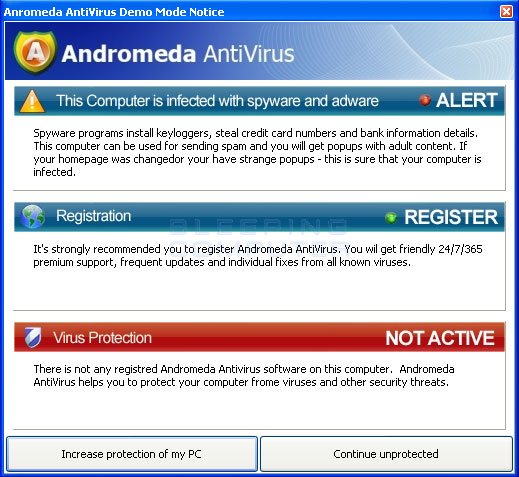 Andromeda AntiVirus pop-up