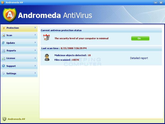 Screen shot of Andromeda AntiVirus