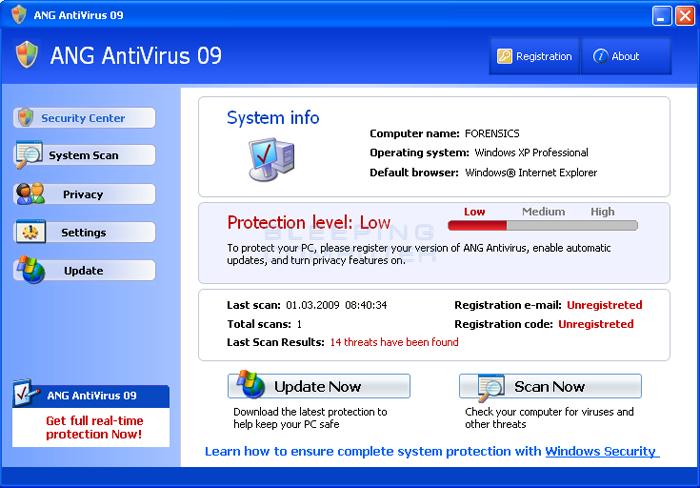 ANG AntiVirus 09 screen shot