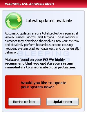 Fake update alert