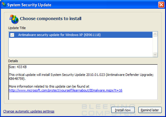 Fake System Security Update