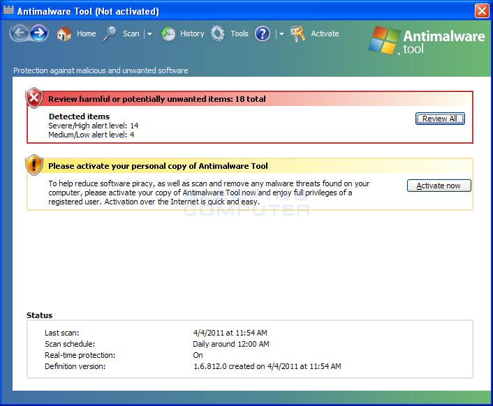 Antimalware Tool screen shot
