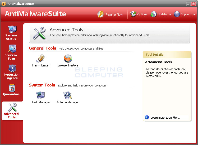 Advanced tools screen