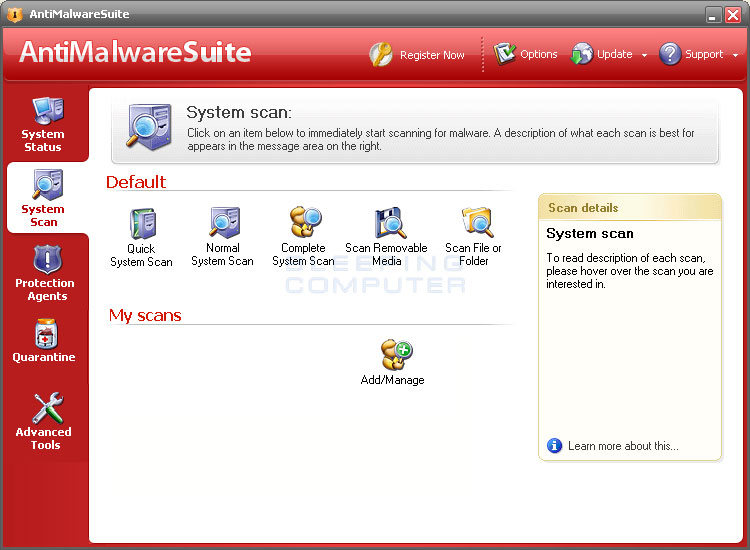 AntiMalwareSuite scan screen