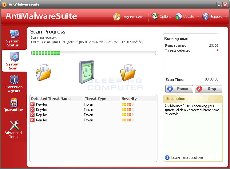 AntiMalwareSuite performing a scan