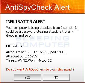 Fake AntiSpyCheck security warning