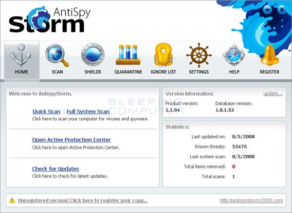 Screen shot of AntiSpyStorm 2008