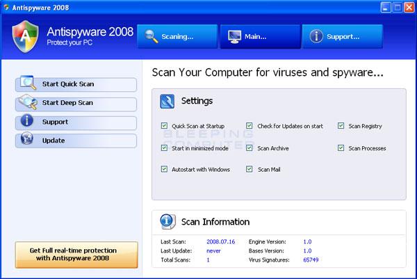 AntiSpyware 2008 screen shot