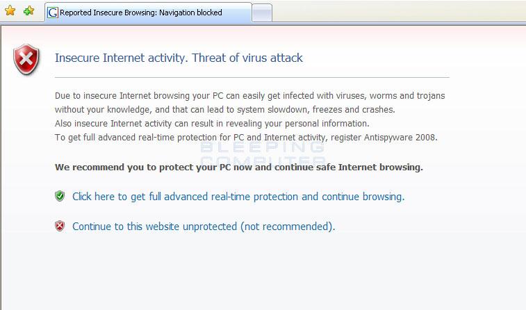 Fake alert in Internet Explorer