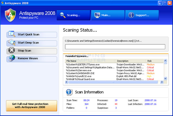 AntiSpyware 2008 scan results