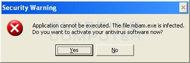 Fake infection warning
