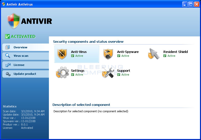 Antivir Antivirus Screen shot