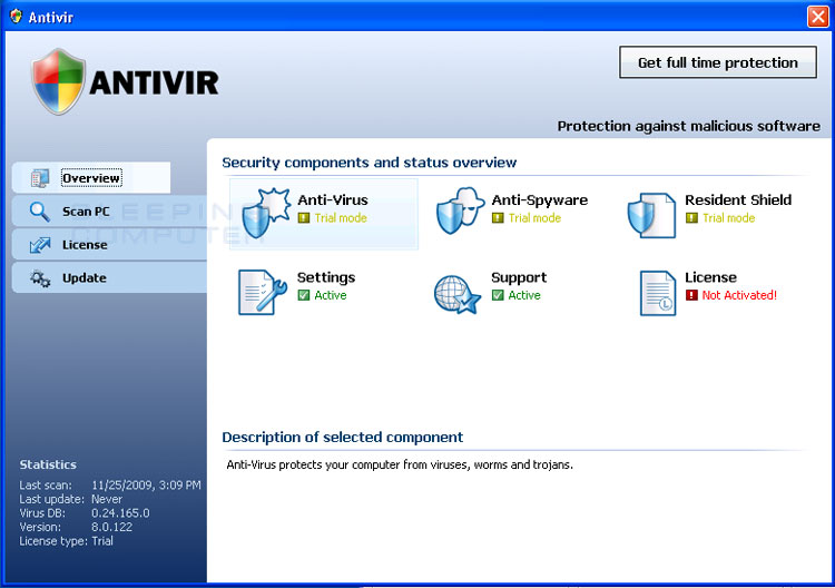 Screen shot of the first version of the Antivir rogue