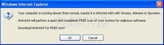 Fake web alert
