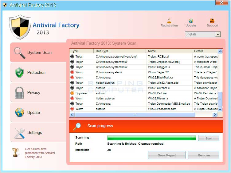 Antiviral Factory 2013 screen shot