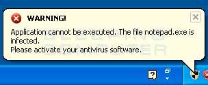 Blocked program alert