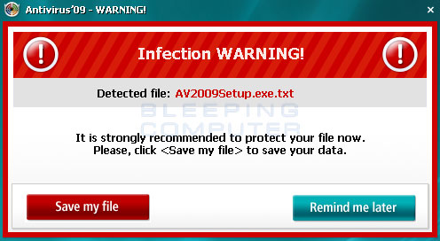 Fake alert showing a harmless file as an infection