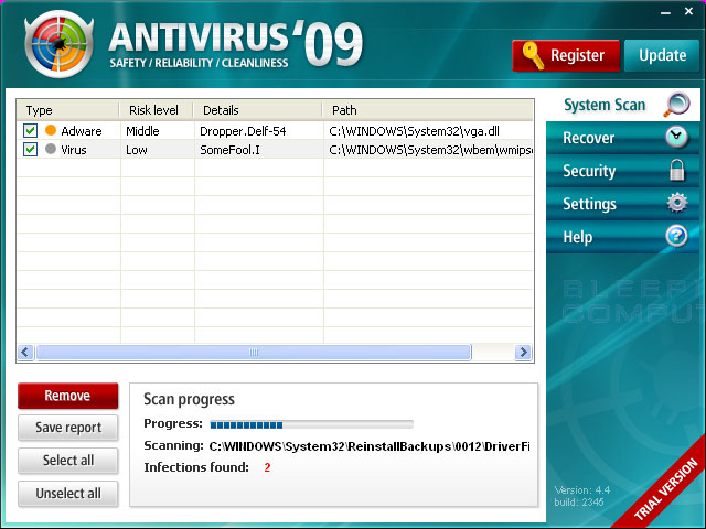 Antivirus'09 Scanning Screen